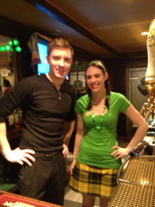 Two servers preparing for St. Patrick's Day!